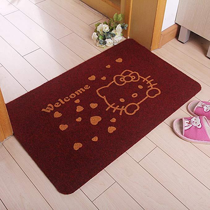 Non-slip hấp thụ nước vòng nhung sàn mat thảm cửa mat lối vào hiên (50 * 80, kitten sâu đỏ)