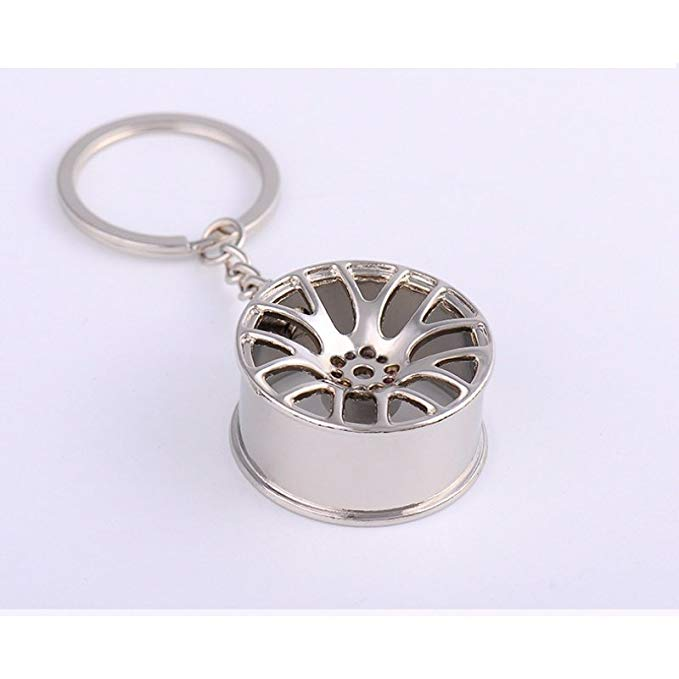 Móc khóa xe bằng kim loại hình bánh xe .