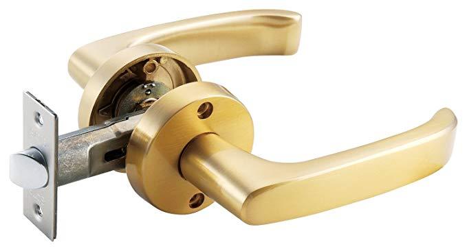 Sáu cài đặt ổ khóa cửa đơn giản Cổng MJ que rỗng satin vàng 10756