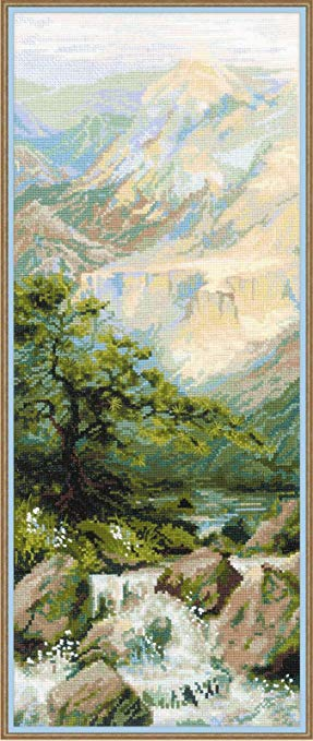 Tranh thêu chữ thập hình núi và sông RIOLIS