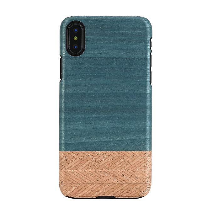 Người đàn ông & gỗ Iphone X điện thoại di động trường hợp gỗ tự nhiên Denim Apple điện thoại di động