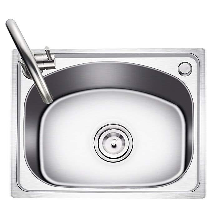 KEGOO Kegu K10016 Chìm Đơn Khe Đặt 304 Thép Không Gỉ Brushed Kitchen Sink Rửa Bát Một mảnh căng bồn
