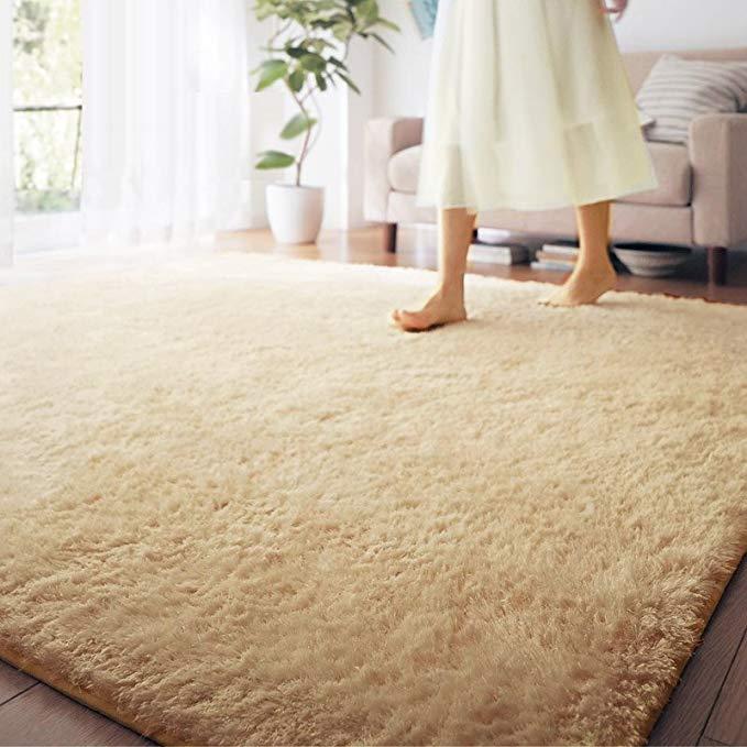 Phong cách phong phú nhung thảm phòng khách (ánh sáng màu be, 140 * 200cm)