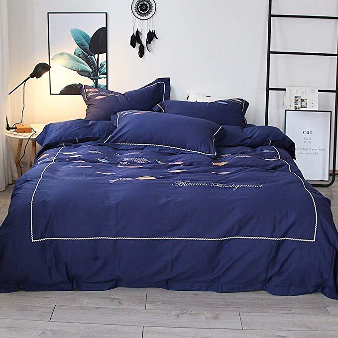 Satin đôi sợi dài staple bông bốn mảnh bông 80 bông thêu hoa 1.8m khăn trải giường quilt cover 2.0m
