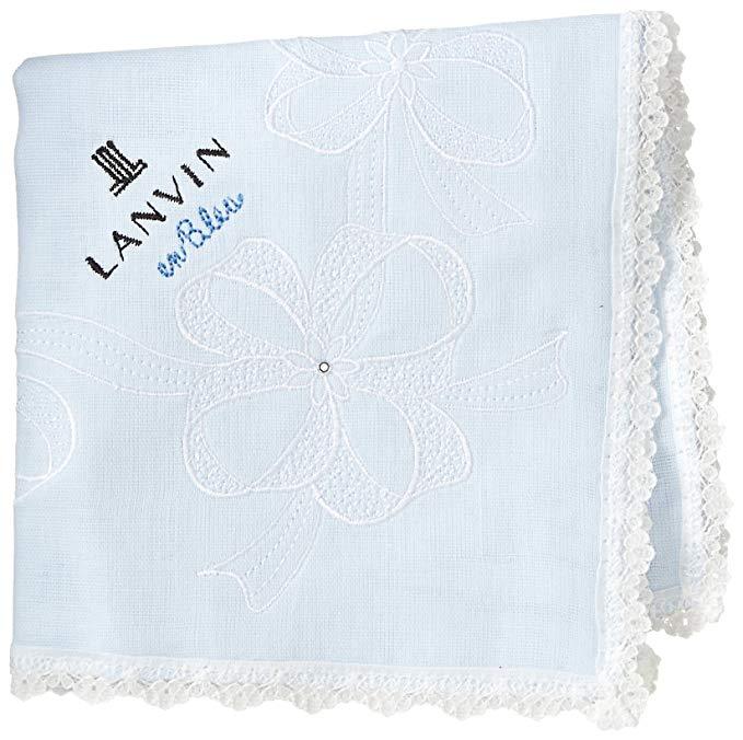 (Lanvin En) Khăn tay ba lớp thêu của phụ nữ Bleu