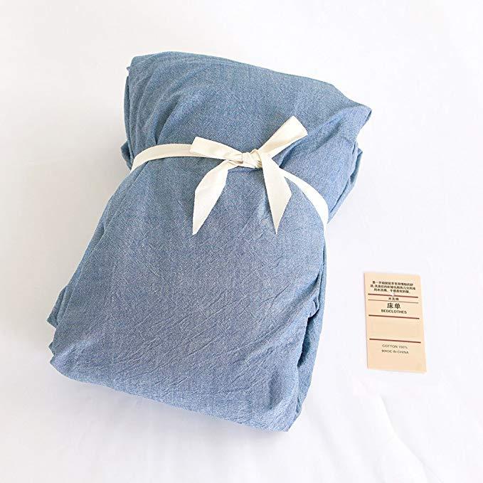 Jeanpop Jane Bộ khăn trải giường kiểu Nhật Bản Sợi bông nhuộm màu rắn Bộ đồ giường thân thiện với da