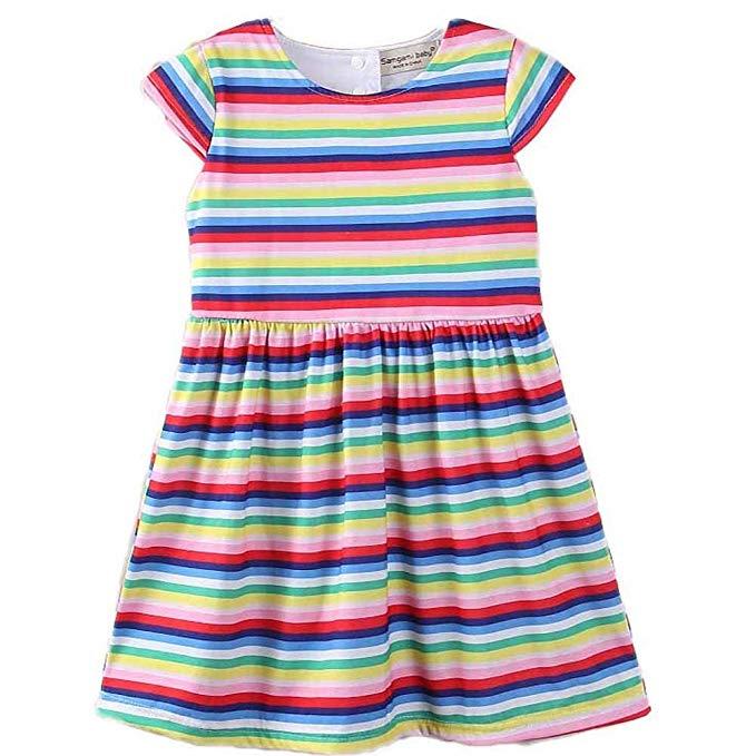 Váy trẻ em ngắn tay sọc cầu vồng Samgami baby