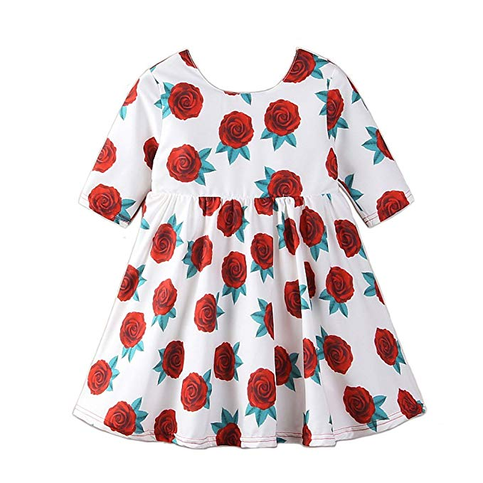 Váy hoa hồng trẻ em tay dài Samgami baby