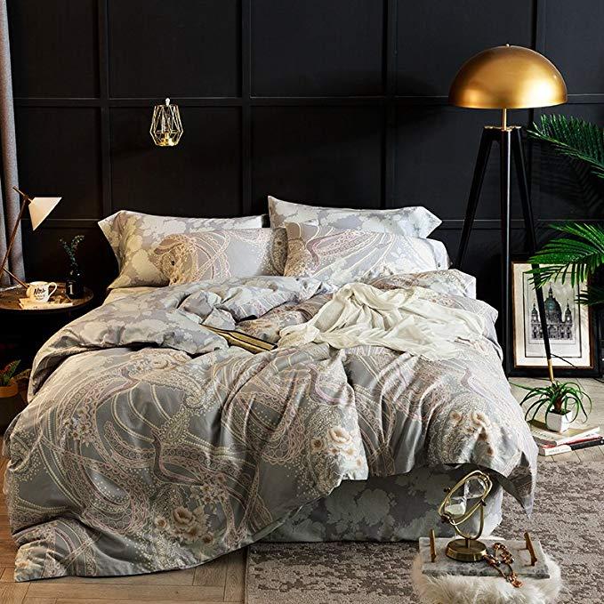 J.H.Longess Kiểu dáng đẹp và thoải mái giường bốn bộ bông 60 dài-staple bông in bốn mảnh bông 1,8 m