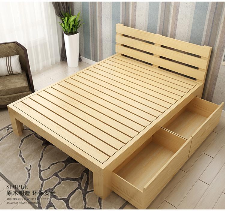 Nội Thất Phòng Ngủ : Nhà sản xuất giường gỗ nguyên khối kiểu đơn giản .