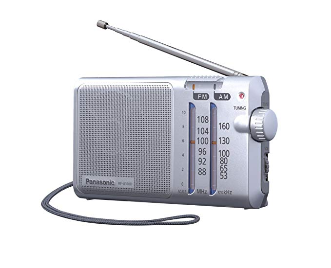 Panasonic Panasonic RFU160DEGS radio cầm tay với vòng nâng, điện hoặc pin, bạc