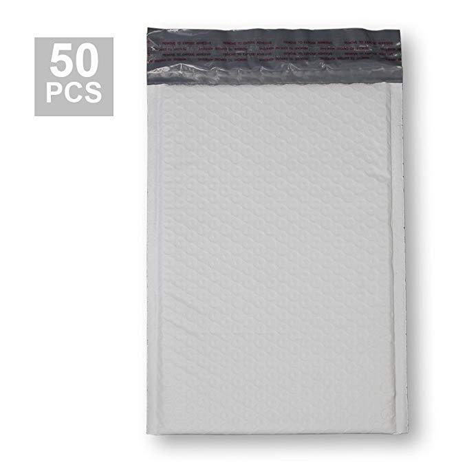 KKBESTPACK polyethylene bong bóng túi 15.24x22.86 tự niêm phong phong bì đệm, trắng