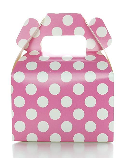 Hộp kẹo màu hồng polka dot kẹo hộp (12 gói) - sáng màu hồng kẹo hộp món quà cưới bachelorette / cô d
