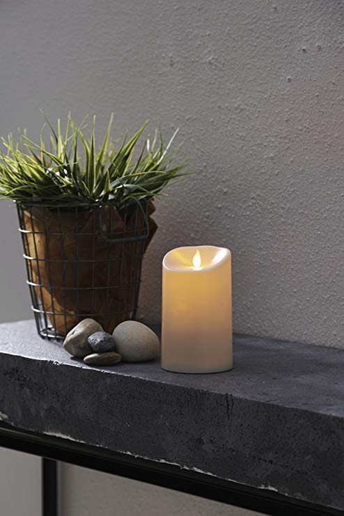 Mùa tốt nhất LED ánh sáng nến nhựa màu be 9 × 9 × 17,5 cm