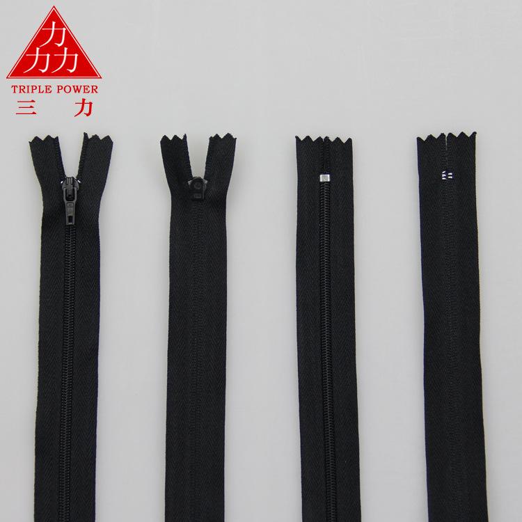 Nylon dây kéo màu đen và màu trắng tại chỗ 3 # gối quilt dây kéo tại chỗ ba lực lượng nhà máy