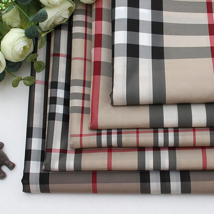 75D Scotland ba dòng polyester kẻ sọc vải đồng bằng dệt quần áo tay áo vải nhà máy bán buôn