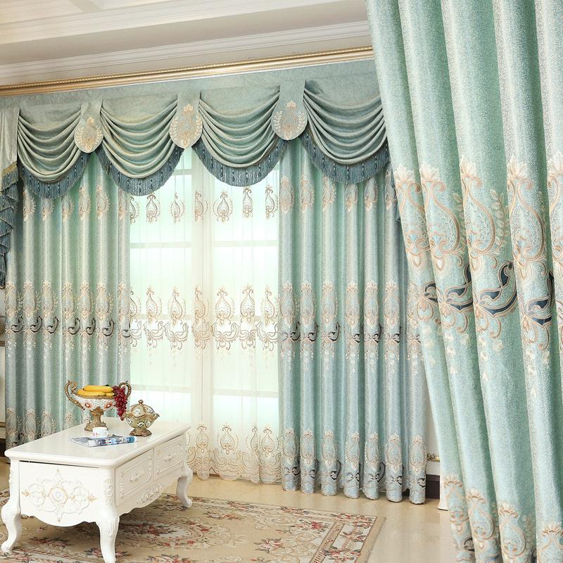 Meisi Mengsha Jacquard Thêu Màn Rèm Vải Phòng Ngủ Phòng Khách Tùy Chỉnh Hoàn Thành Rèm Cửa Sổ Màu Xa