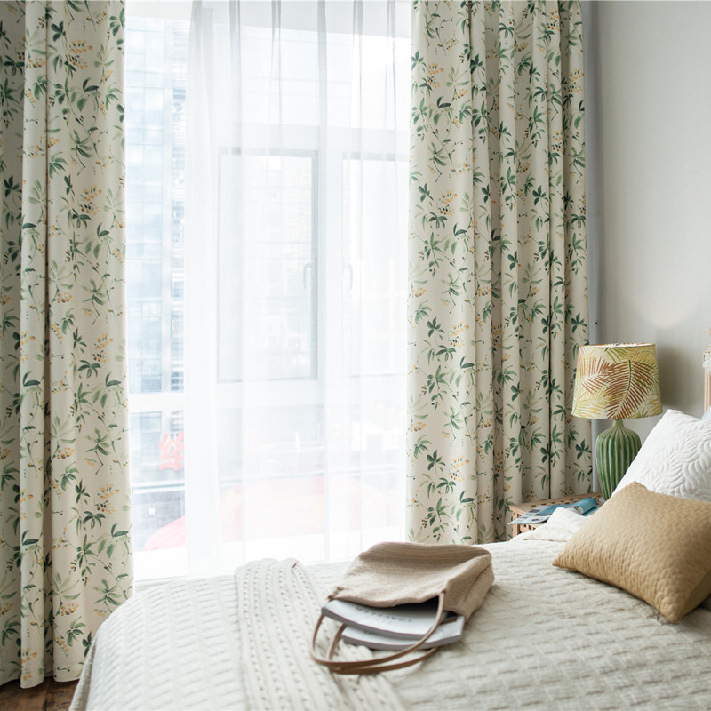 2018 new trắng silk fine cotton rèm vải in ấn màn rèm cửa Mỹ hoa phong cách đầu mùa xuân