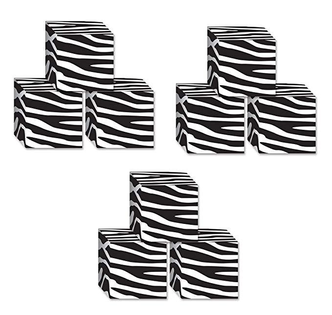 Beistle s54133az3, hộp kẹo in zebra 9 mảnh, 8,3 x 8,3 cm