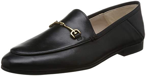 Giày lười nữ chất liệu da đen bóng Sam Edelman