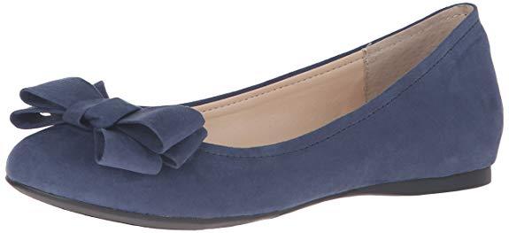 Giày ballet thắt nơ vải nhung màu xanh dương Jessica Simpson