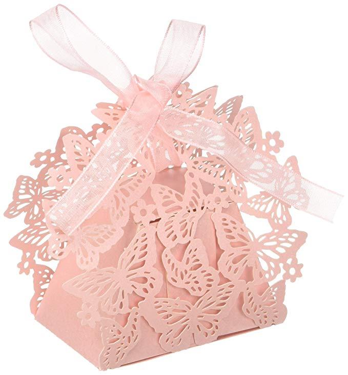 Wrapables bướm hộp kẹo đám cưới hộp quà tặng với ribbon (bộ 50)