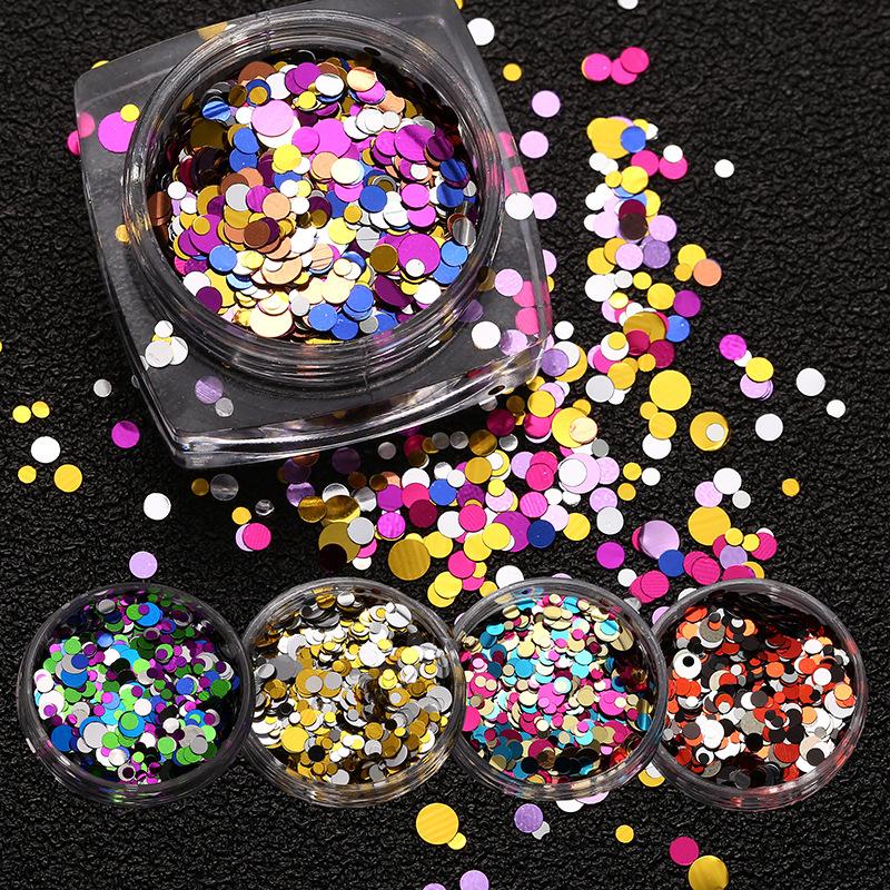 Móng tay móng tay nóng vá kim loại hỗn hợp đầy màu sắc vòng sequins móng tay long lanh tại chỗ nhà m