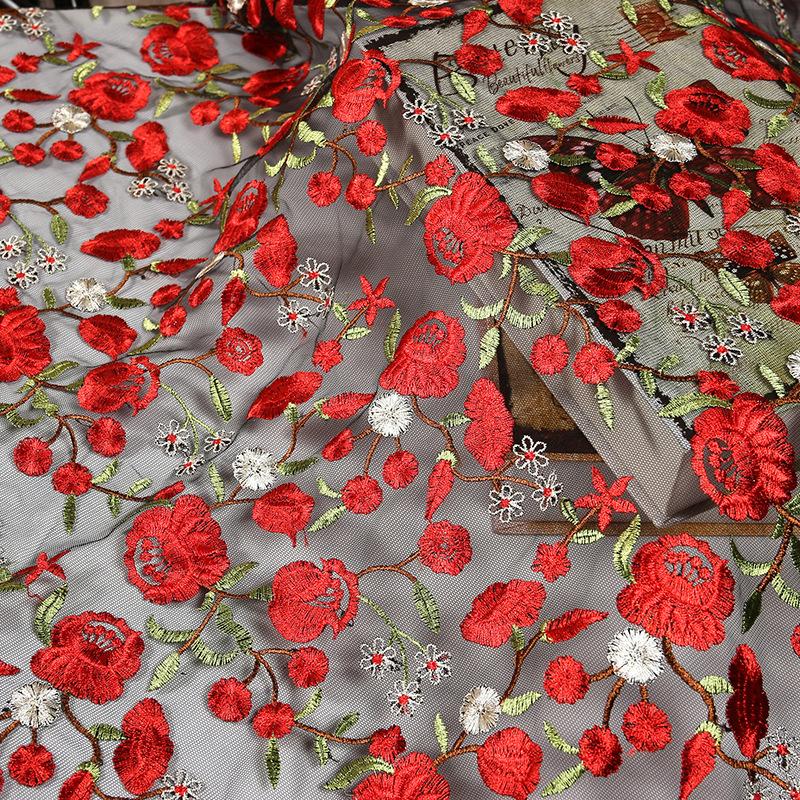 Sản phẩm mới Lưới vải thêu Mùa xuân và mùa hè Ăn mặc Thời trang Váy Vải cheongsam Polyester gạc