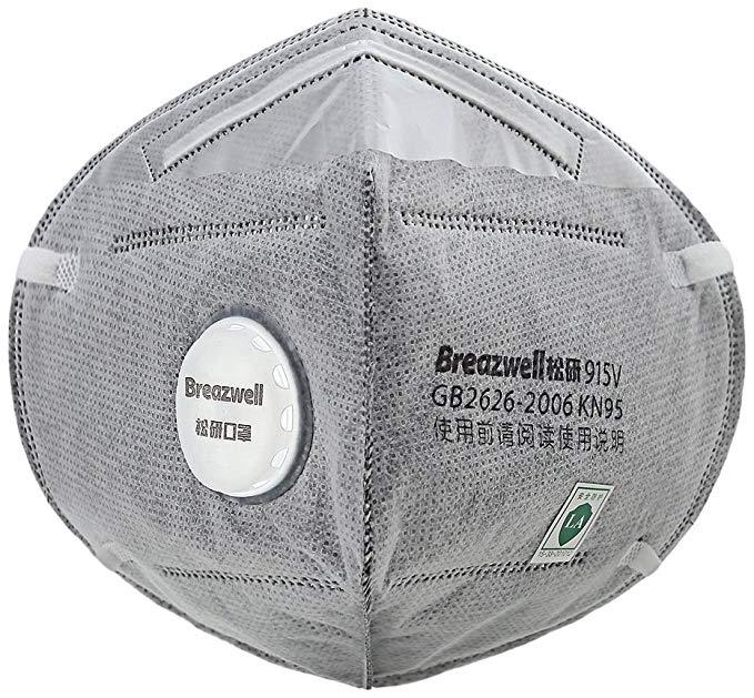 Breazwell Loose tự mồi lọc Earband mặt nạ hạt PM2.5 Haze hoạt động mặt nạ với van hô hấp KN95 bảo vệ