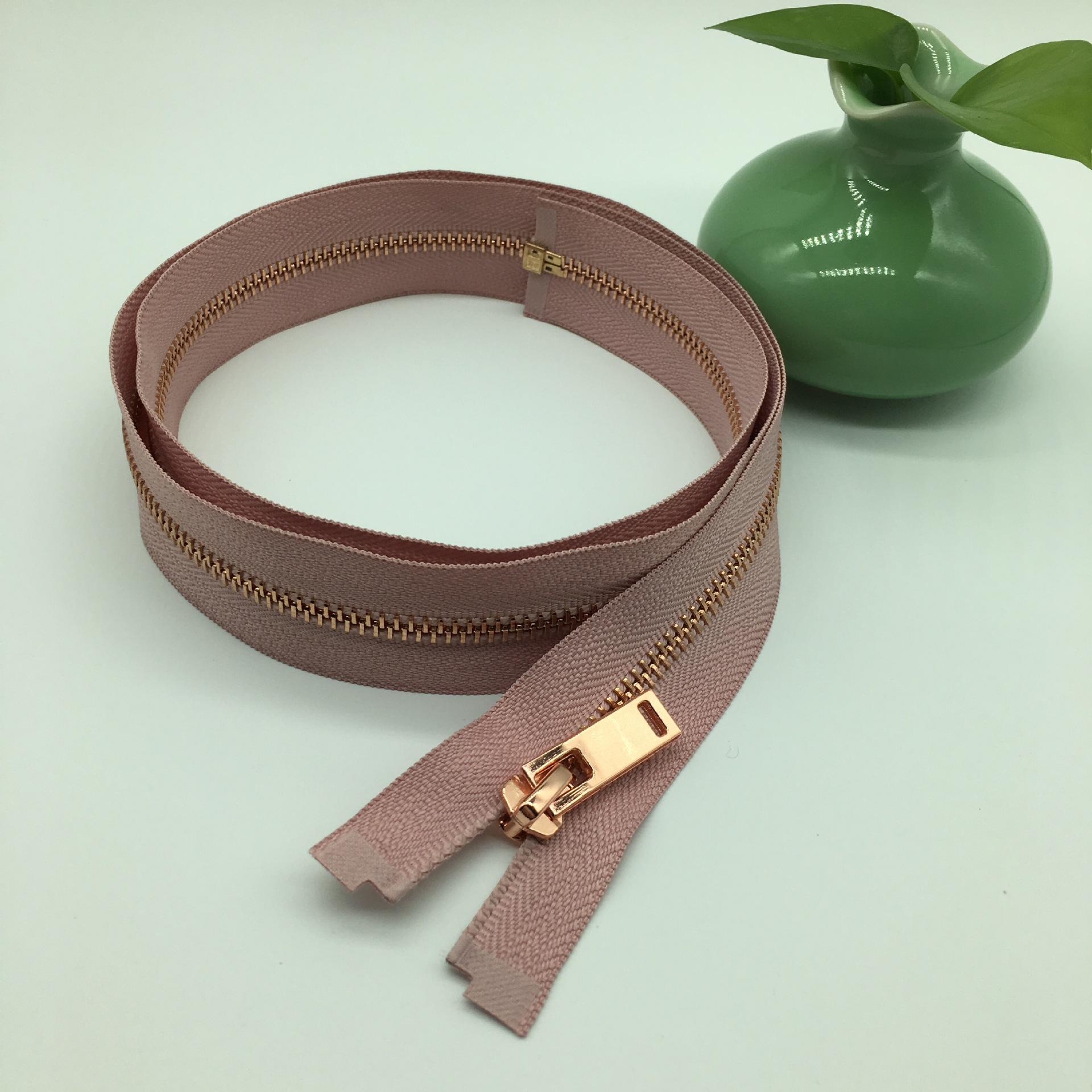 Túi 5 dây kéo kim loại Y răng dây kéo kim loại rose gold răng mở dây kéo loạt các có thể được tùy ch