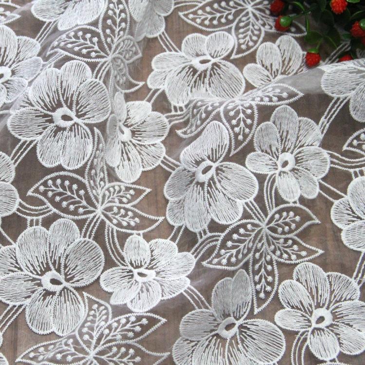 Nhà sản xuất lưới trong suốt cotton thêu ren vải cao cấp organza vải thêu vải