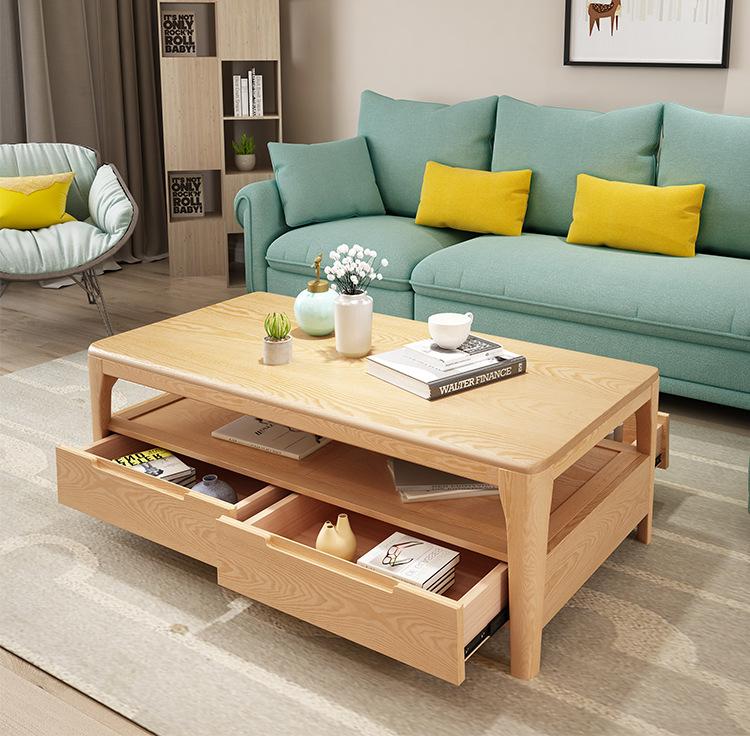 Bắc Âu cả tủ gỗ thật đấy kĩ trà TV kết hợp bộ phòng khách nhỏ cây tần bì gỗ thô hiện đại rất đơn giả