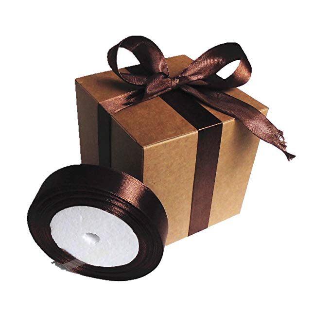 Glory QIN 18 gói hộp quà tặng bằng da 10.2x10.2x10.2 cm, hộp quà tặng lụa nâu ribbon