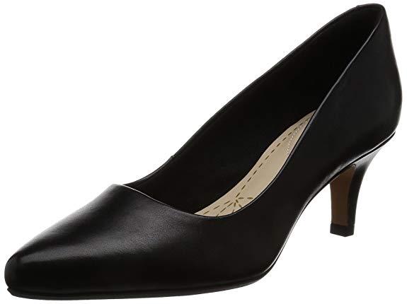 Giày cao gót nữ chất liệu da đen bóng Clarks