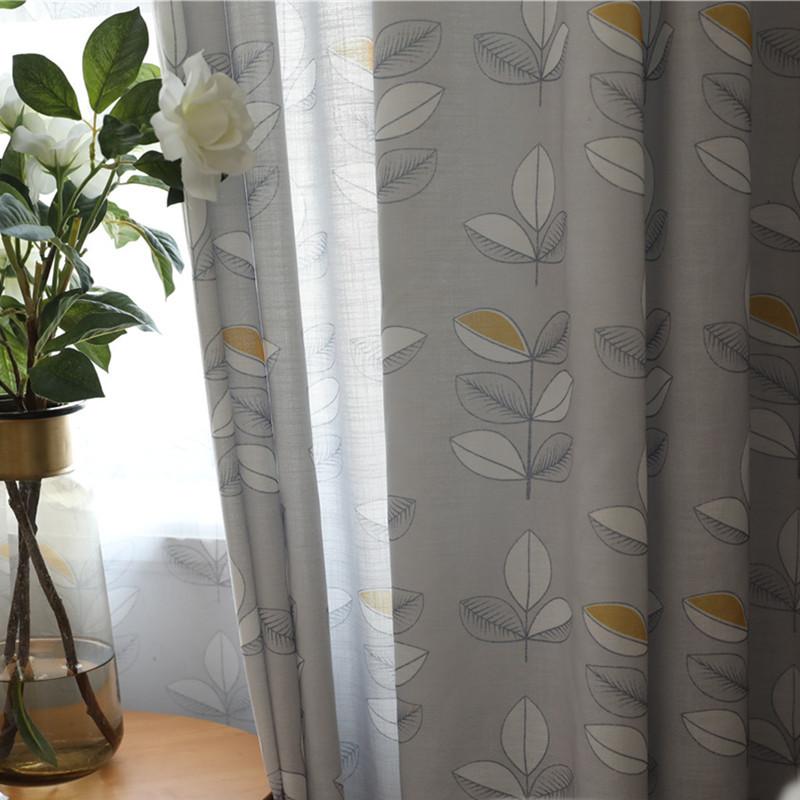 Bắc âu giả bông và vải lanh in rèm vải nửa bóng polyester linen màn rèm thành tùy chỉnh lá ngôn ngữ