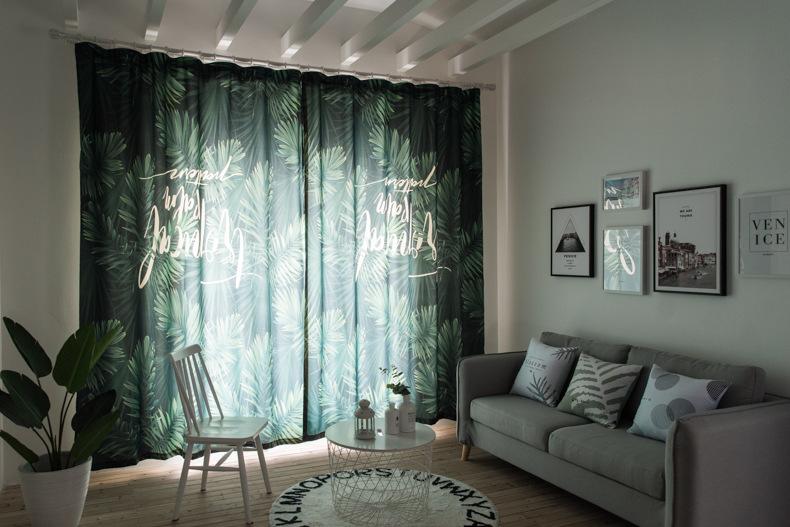 Lưới màn vải đỏ INS nổ: nền xanh lá cọ, rừng Bắc Âu Vải rèm phòng kỹ thuật số tem nhái