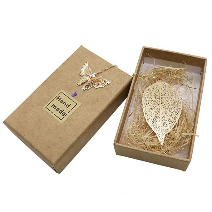 Huele kim loại cổ điển bookmark bướm lá hộp quà tặng tinh tế cho bạn bè vàng