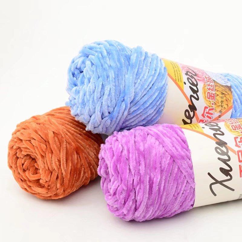 Đặc biệt ưa thích sợi chenille vàng nhung sợi tay móc thô len thương mại nước ngoài xuất khẩu tất cả