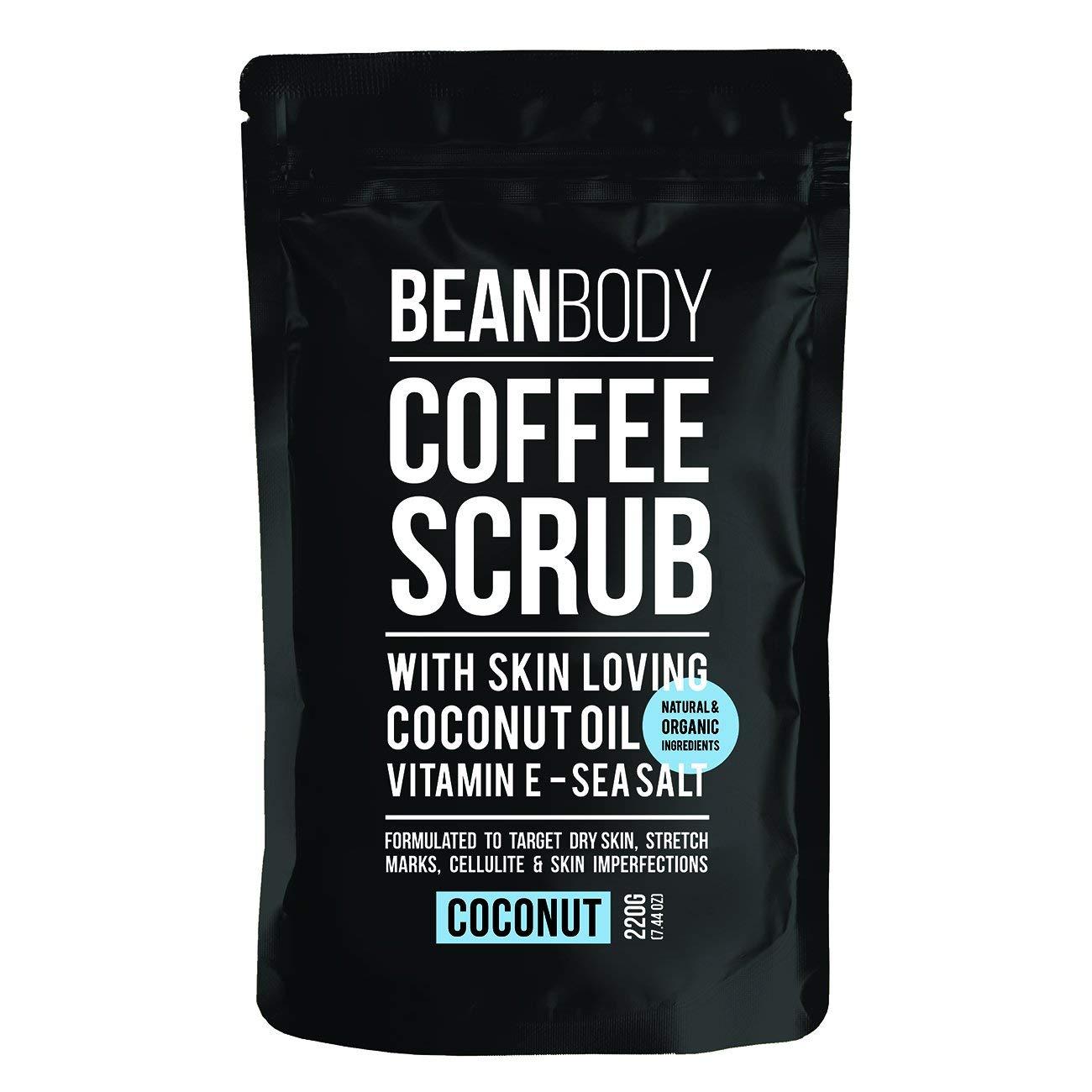 Mr. Bean Organic All Natural Coffee Bean Exfoliating Body Skin Scrub with Coconut Oil, Vitamin E, an