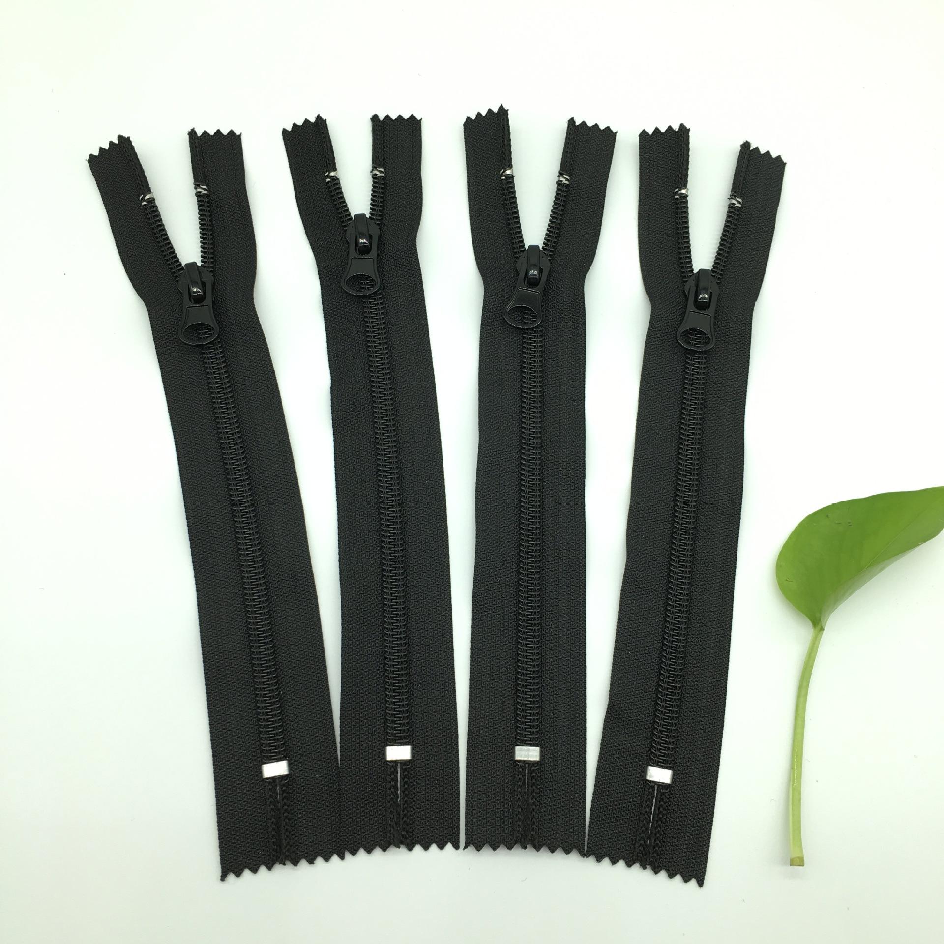 SIS dây kéo nhà máy bán hàng trực tiếp Số 5 nylon đóng đuôi dây kéo điện màu trắng trên và dưới quần