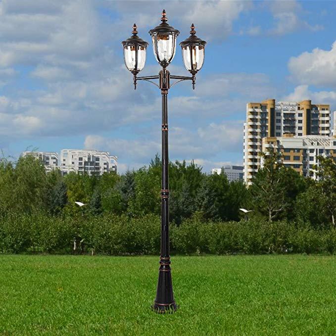 2.4 mét ba người đứng đầu Châu Âu đèn đường ngoài trời không thấm nước đèn vườn cộng đồng lối đi đèn
