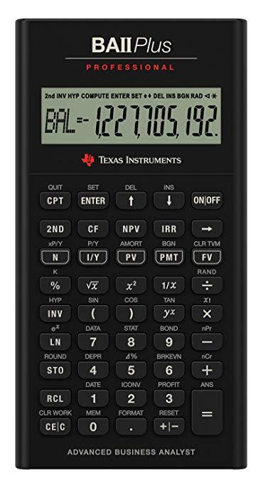 Dụng cụ Texas BA II PLUS Máy tính tài chính chuyên nghiệp