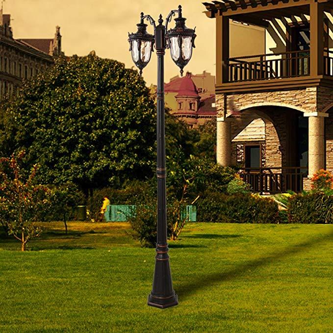 Phong cách châu Âu đèn đường đôi đầu ngoài trời không thấm nước vườn đèn biệt thự vườn đèn cộng đồng