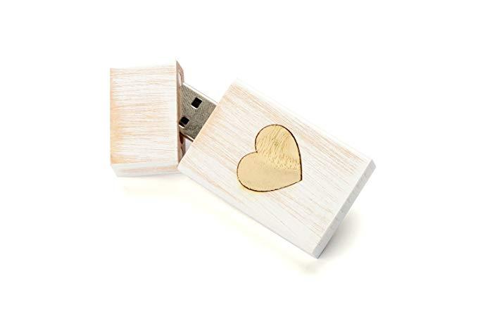 Trắng rửa ổ đĩa flash USB 16 GB - vát trái tim khảm - chèn vào một hộp phong màu trắng phù hợp, * Dừ
