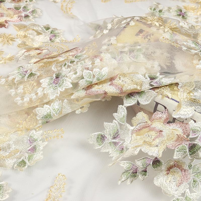 Nhà máy trực tiếp 2018 new multi-màu thêu lưới ren thêu lưới thời trang sườn xám váy vải