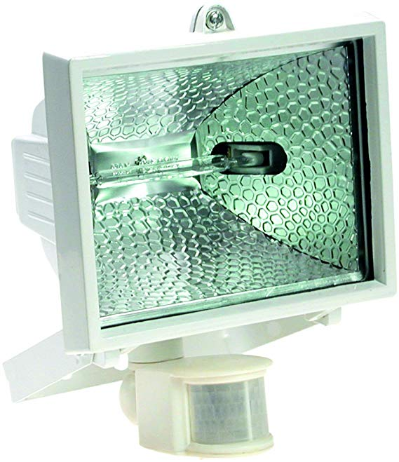 As - Đèn pha halogen Schwabe 43151 150 W, có bộ dò chuyển động, màu trắng