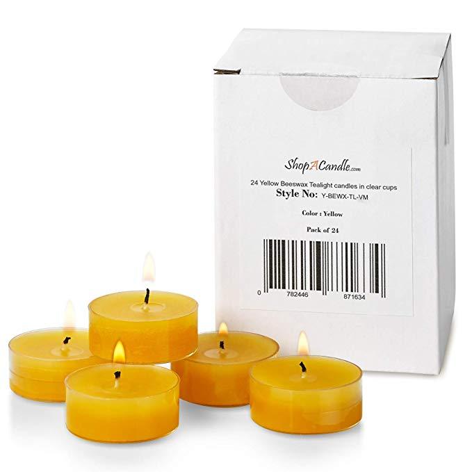 Vàng sáp ong Tea Light Candle trong cốc trong suốt - Bộ 24 Nến - 4,5 Giờ Thời gian đốt