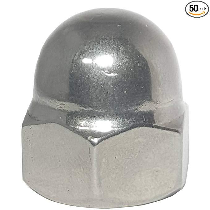 5 / 16-18 Acorn cap nut, thép không gỉ 18-8, chiều cao tiêu chuẩn, đồng bằng kết thúc, số lượng 50