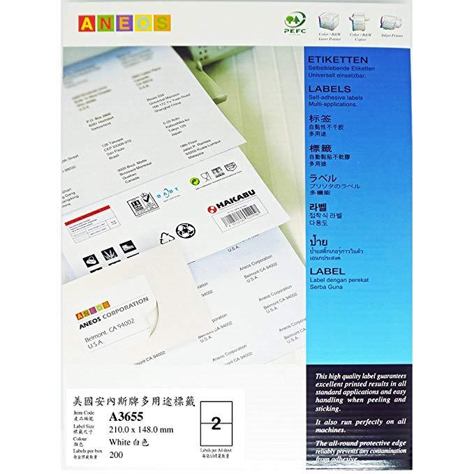 ANEOS A3655 Mỹ Anes A4-100 tự dính in nhãn giấy 210.0x148.5mm