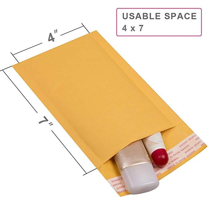 Mailer PLUS # 000 4 X 8 giấy kraft bong bóng vàng tự niêm phong đệm phong bì túi 50